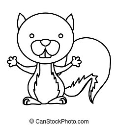 silhouette picture cute chipmunk animal rodent vector...