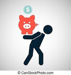silhouette, piggy, financieel, munt, crisis, man