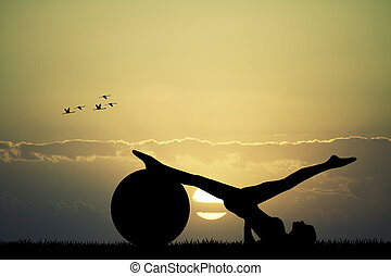 silhouette, pilates, coucher soleil
