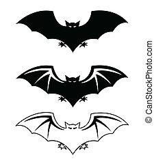 silhouette, pipistrelli