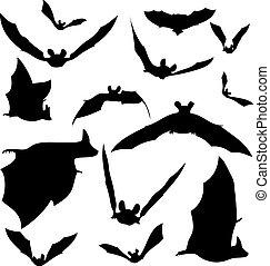 silhouette, pipistrello