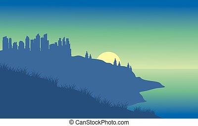 silhouette, plage, ville
