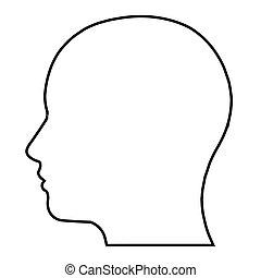 silhouette, plat, icon., illustration, gens, heads., tête, ...
