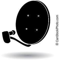 silhouette, plat satellite