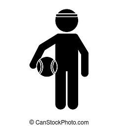 silhouette player basketball with headband