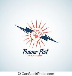 silhouette, poing, puissance, symbole, emblème, résumé, template., typography., vecteur, boulon, tenue, logo, main, ou, éclair, retro