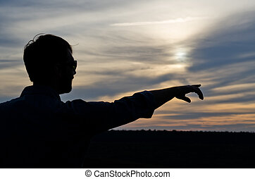 silhouette, pointage, homme