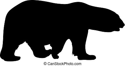 Silhouette polar bear on a white background
