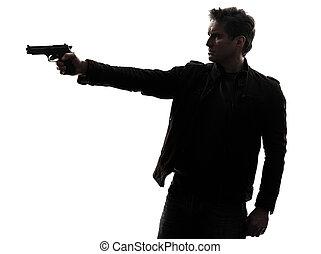 silhouette, politieagent, moordenaar, geweer, mikkend, man