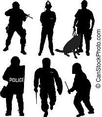 silhouette, politieagent