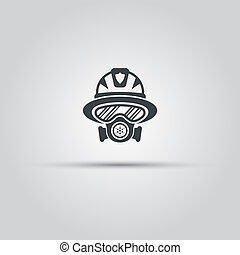 silhouette, pompier, masque, essence, figure, icône