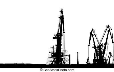 silhouette, port maritime