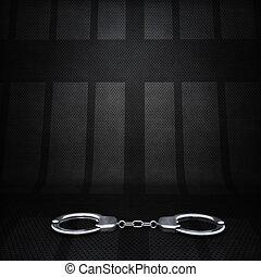 silhouette, portes, poignets, scène, main, cellule, arrière-plan., prison, fond