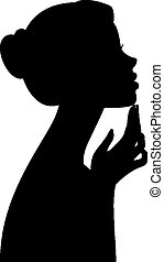 Silhouette portrait of a girl in pr