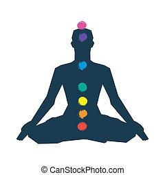 silhouette, pose, yoga, humain, chakras