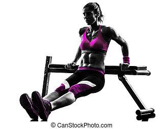 silhouette, pousées, exercices, femme, fitness