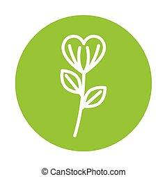 silhouette, pousse feuilles, fleur, fond, vert