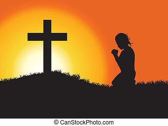 silhouette, preghiera