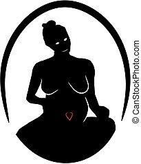 Silhouette pregnant lady - Pregnant lady artwork.