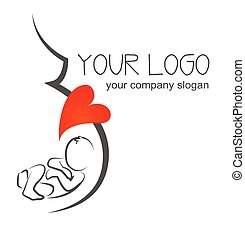 silhouette pregnant woman illustration . poster and logo design