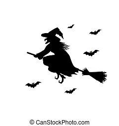 silhouette., pretas, feiticeira