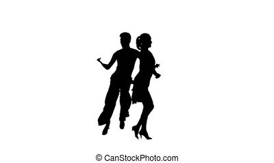 Silhouette professional pair dancing jive on white background. Slow motion