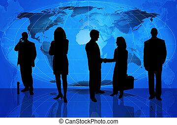 silhouette, professioneel, zakelijk
