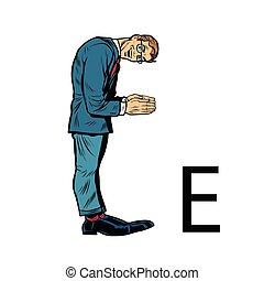silhouette, professionnels, alphabet, ees., lettre e