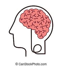 silhouette profile human head with brain