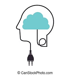 silhouette profile human head with plug connector and cloud