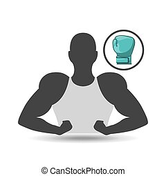 silhouette, projection, gant boxe, homme muscle