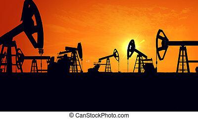 Silhouette pump jacks at sunset. - 3D rendering of...