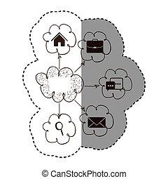 silhouette, réseau, service, icônes, connexion, nuage