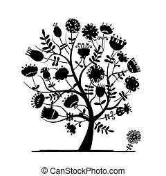 silhouette, résumé, arbre, conception, floral, ton