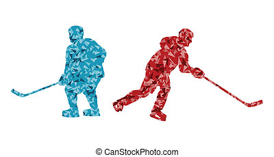 silhouette, résumé, glace, joueur, vecteur, hockey, fond, sport