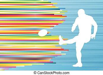 silhouette, résumé, joueur, vecteur, fond,  rugby