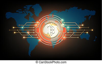 silhouette, résumé, signe, bitcoin., monnaie, composition