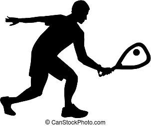 silhouette, racquetball