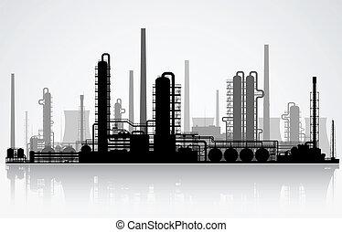 silhouette., raffinerie, oel