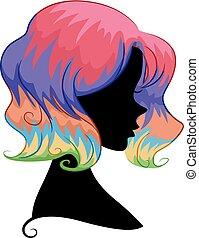 silhouette, ragazza, arcobaleno, capelli, illustrazione