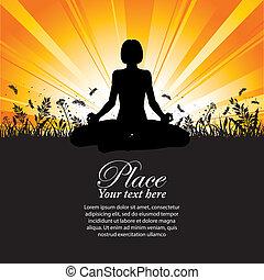 silhouette, ragazza, atteggiarsi, yoga