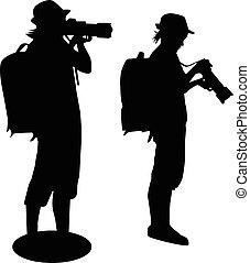 silhouette, ragazza, macchina fotografica, immagini, presa