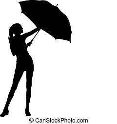 silhouette, ragazza, ombrello, briciolo