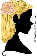 silhouette, ragazza, perno, ups, fiore