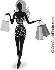 silhouette, ragazza, shopping