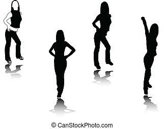 silhouette, ragazza, vettore, -