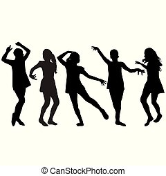 silhouette, ragazze, ballo