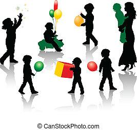 silhouette, ragazzo, gioco, wi