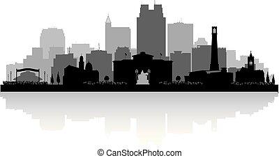 silhouette, raleigh, horizon, caroline, ville, nord