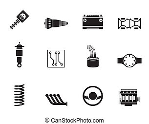 Car Parts and Services icons - Silhouette Realistic Car...